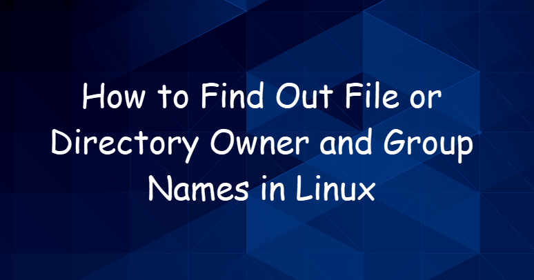 Find Out File or Directory Owner and Group Names in Linux1